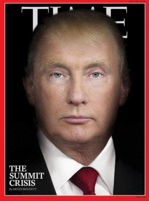 特朗普与普京合成照登《时代》封面 仔细对比可发现两人特征