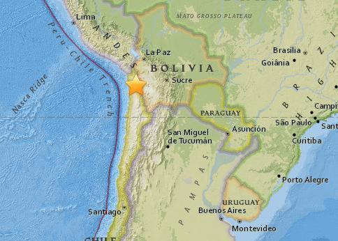 北京时间14日13时32分智利北部发生5.1级地震 震源深度99.8公里