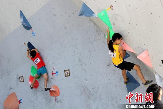 第十一届全国青年攀岩锦标赛在河北高碑店开赛 150余名攀岩运动员参赛