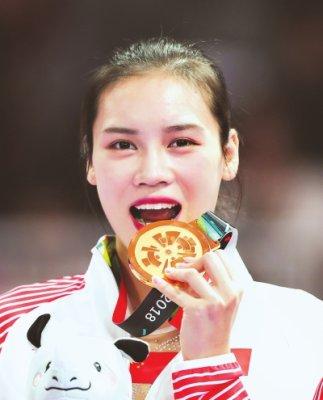 雅加达亚运会福建刘灵玲获蹦床女子个人金牌