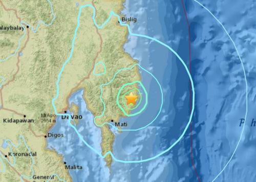 北京时间8日15时16分左右菲律宾棉兰老岛东部地区发生6.1级地震