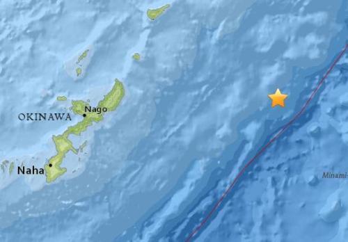 北京时间17日上午10时32分日本冲绳以东海域发生5.1级地震 震源深度10公里