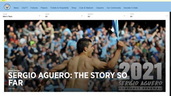 阿根廷前锋阿圭罗续约曼城至2021年 新合同周薪为22万镑