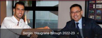 巴萨宣布与布斯克茨续约至2023年 违约金从2亿欧元增加到5亿欧元