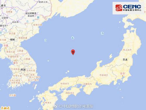 日本海发生5.0级地震震源深度380千米