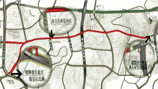 延安东路延伸段示意图。