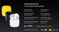 realme Buds Air真无线耳机正式亮相印度 价格约395元