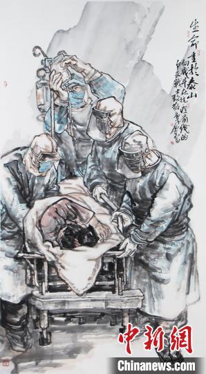 李庆富《生命重于泰山》。太原美术馆供图